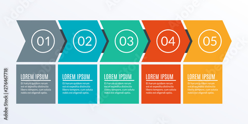 Fototapeta 5 steps business process. Timeline infographic with arrows and 5 elements, options or levels for flowchart, presentation, layout, progress chart, workflow. Vector illustration. obraz