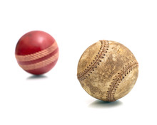 Vintage Baseball And Cricket Stress Ball Isolated On A White Background..