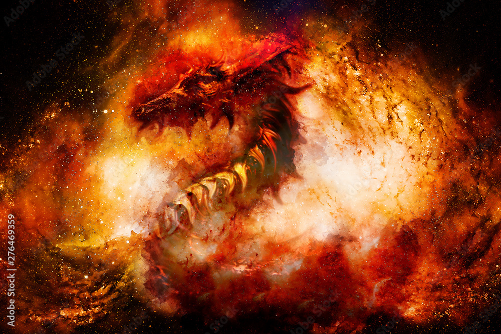Fototapeta Cosmic dragon in space, cosmic abstract background