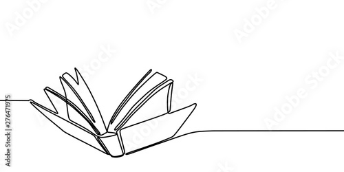Fototapeta Book one line drawing banner. Continuous hand drawn minimalist minimalism design isolated on white background vector illustration. obraz
