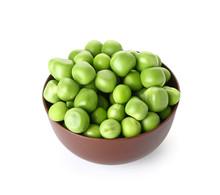 Bowl With Tasty Fresh Peas On White Background