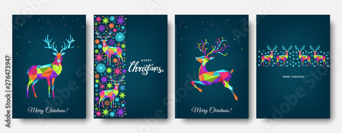 Colorful Christmas reindeer and snowflakes.
