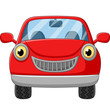 Cartoon red car on white background