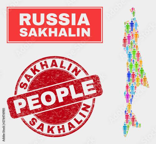 Demographic Sakhalin Island map illustration. People bright ...