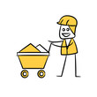 mining operator with trolley, doodle stick figure design