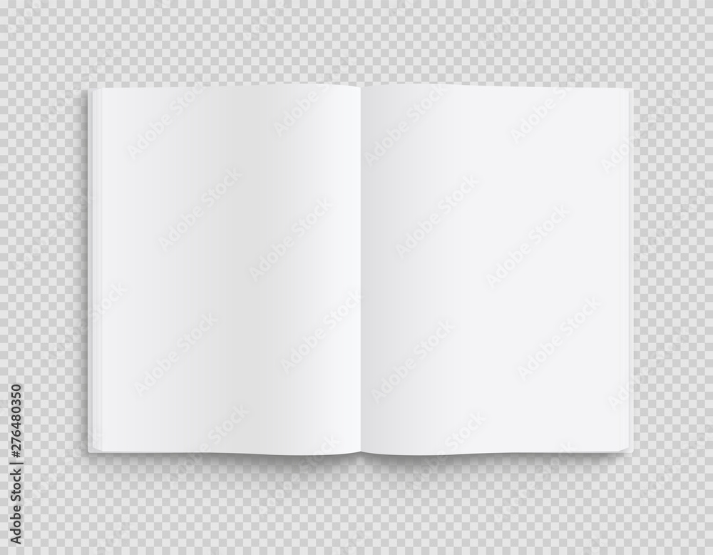 Fototapeta Blank opened book, magazine and notebook template with soft shadows on transparent background. Front view. - stock vector.