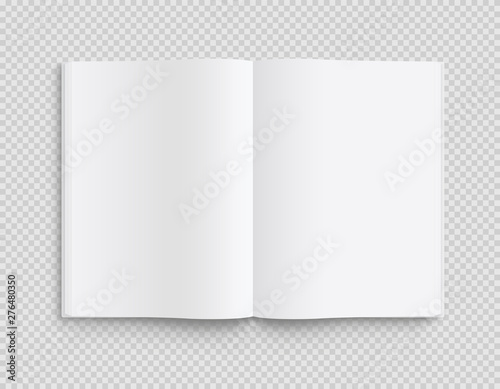 Fototapeta Blank opened book, magazine and notebook template with soft shadows on transparent background. Front view. - stock vector. obraz