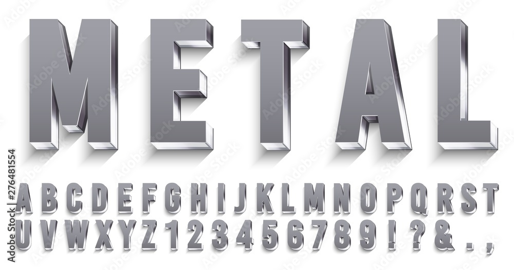 Fototapeta Realistic metal font. Shiny metallic letters with shadows, chrome text and metals alphabet. Credit cards steel abc and numbers, futuristic iron font. 3D vector isolated symbols set