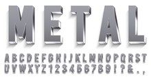 Realistic Metal Font. Shiny Me...