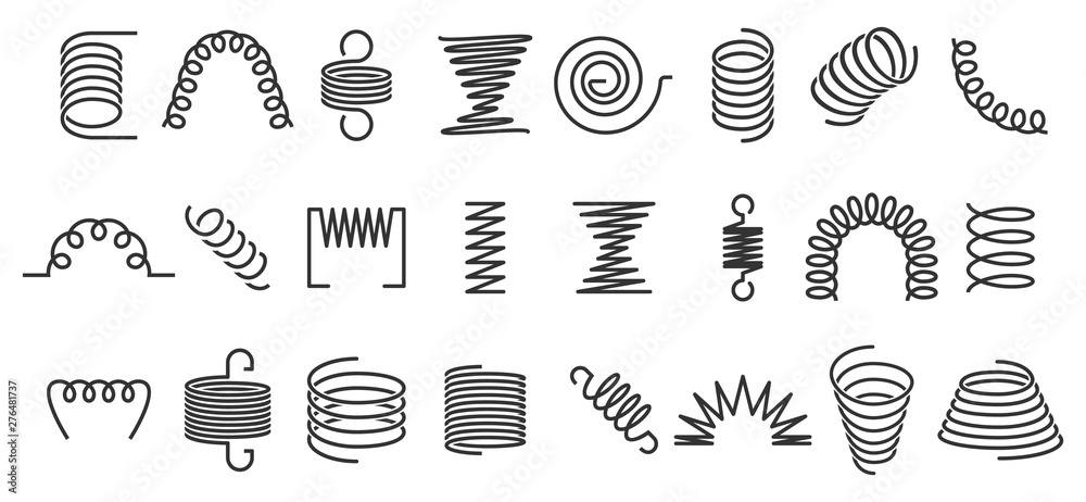 Fototapeta Spiral spring. Flexible coils, wire springs and metal coil spirals silhouette. Vape metallic flexible coils, flexibility steel motor spiral doodle. Isolated vector icons set