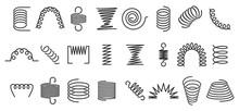 Spiral Spring. Flexible Coils, Wire Springs And Metal Coil Spirals Silhouette. Vape Metallic Flexible Coils, Flexibility Steel Motor Spiral Doodle. Isolated Vector Icons Set