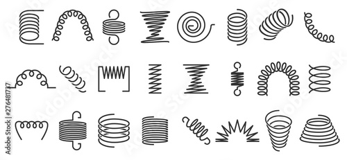 Obraz Spiral spring. Flexible coils, wire springs and metal coil spirals silhouette. Vape metallic flexible coils, flexibility steel motor spiral doodle. Isolated vector icons set - fototapety do salonu