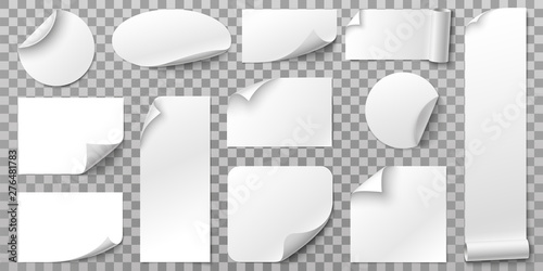 Fototapeta White paper stickers. Label sticker with curled corners, curve papers edge and blank tag. Book or magazine sheet, paper logo or memo sticker. Isolated 3D realistic vector symbols set obraz