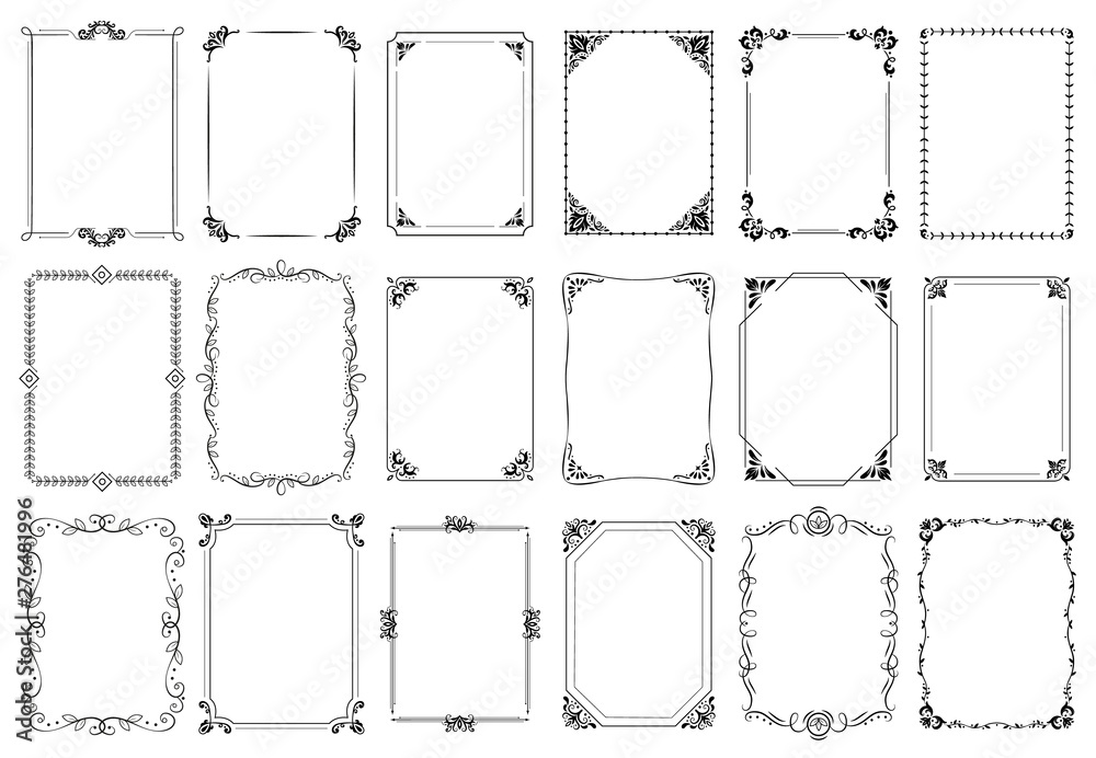 Fototapeta Decorative frames. Retro ornamental frame, vintage rectangle ornaments and ornate border. Decorative wedding frames, antique museum picture borders or deco devider. Isolated icons vector set
