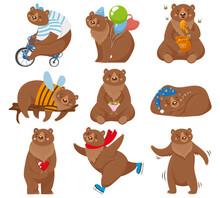 Cartoon Bears. Happy Bear, Gri...