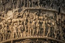 Trajan Column In Rome, Close Up