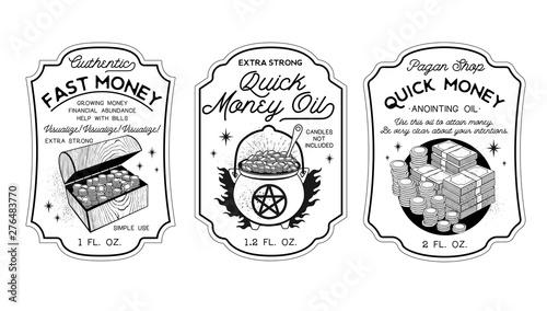 Tablou Canvas Money Oil Bottle Labels Potion Labels. Vector Illustration.