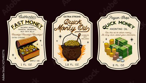 Valokuva Money Oil Bottle Labels Potion Labels. Vector Illustration.