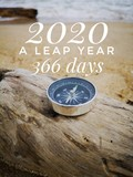 2020 a leap year with additional one day on February 29th and 366 days in lunar calendar design for synchronize the calendar year with compass background.