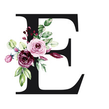 Floral Alphabet, Letter E With Watercolor Flowers And Leaves. Monogram Initials Perfectly For Wedding Invitation, Birthday, Greeting Card, Logo, Poster And Other. Holiday Design Hand Painting.