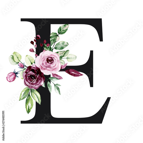 Fototapeta Floral Alphabet Letter E With Watercolor Flowers And Leaves Monogram Initials Perfectly For Wedding Invitation Birthday Greeting Card
