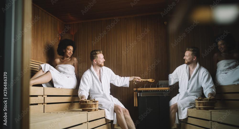 Fototapety, obrazy: People enjoying sauna health benefits and relax
