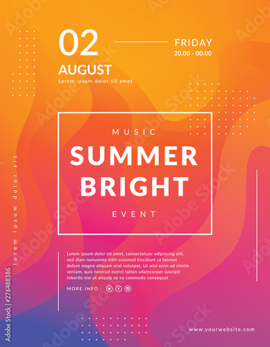 Summer poster event template. Colorful geometric background. Fluid shapes composition. Modern event poster template. Abstract bright background design - 276488386