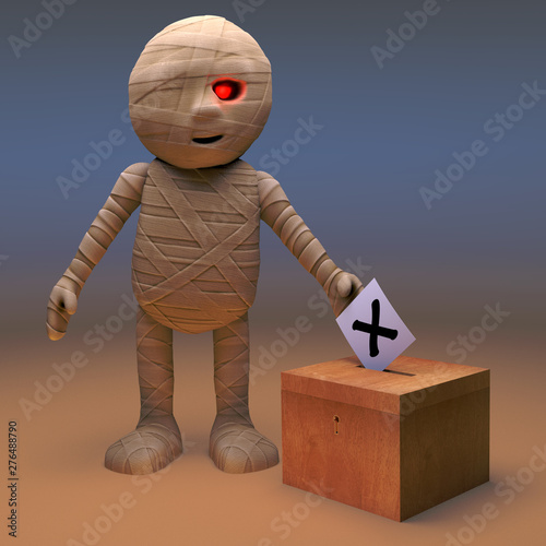 Photo Politically minded Egyptian mummy monster votes in the election, 3d illustration