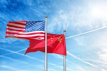 Usa And China National Flag Wa...