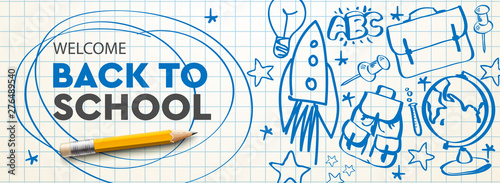 Welcome Back to school horizontal banner, doodle on checkered paper background, vector illustration. - 276489540
