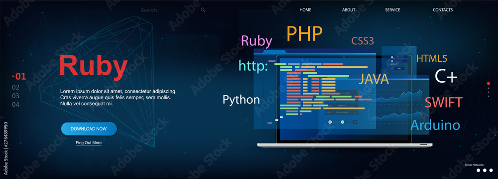 Fototapeta Ruby programming language. Web page template Software development. Vector illustration with laptop and program code on screen. Ruby concept banner. Vector illustration