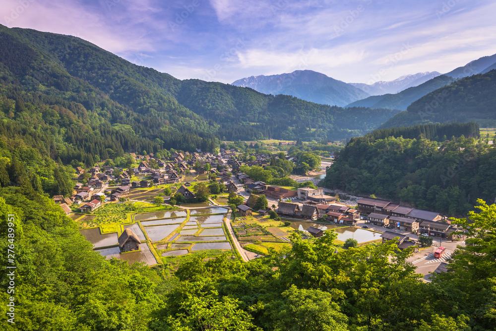 Fototapeta Shirakawa-go - May 26, 2019: Panoramic view of the village of Shirakawa-go, Japan