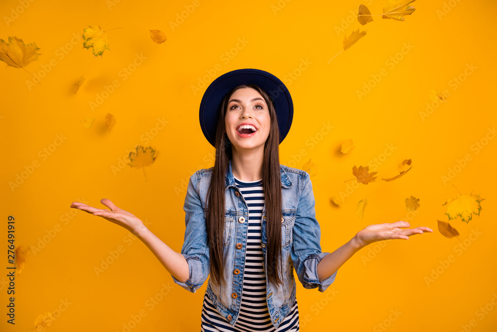 Fototapety, obrazy: Portrait of her she nice charming attractive lovely careless optimistic cheerful cheery straight-haired lady throwing seasonal leaves having fun isolated over bright vivid shine yellow background