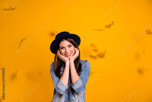 Portrait of her she nice charming attractive lovely glad delighted cheerful chee Fotobehang