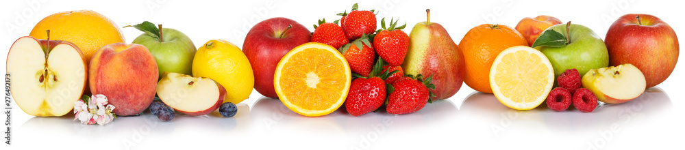 Fototapety, obrazy: Fresh fruits collection apple apples orange strawberries berries fruit isolated on white in a row