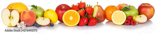 Poster Pierre, Sable Fresh fruits collection apple apples orange strawberries berries fruit isolated on white in a row
