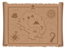 Pirate Treasure Map Vector Ill...
