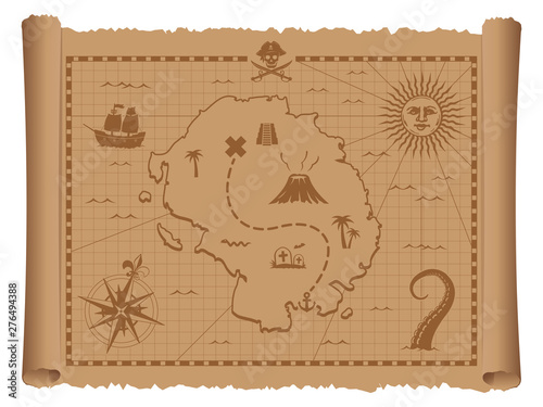 Obraz Pirate treasure map vector illustration - fototapety do salonu