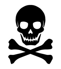 Crossbones Skull Mark Flat Vector Illustration ( Danger / Warning)