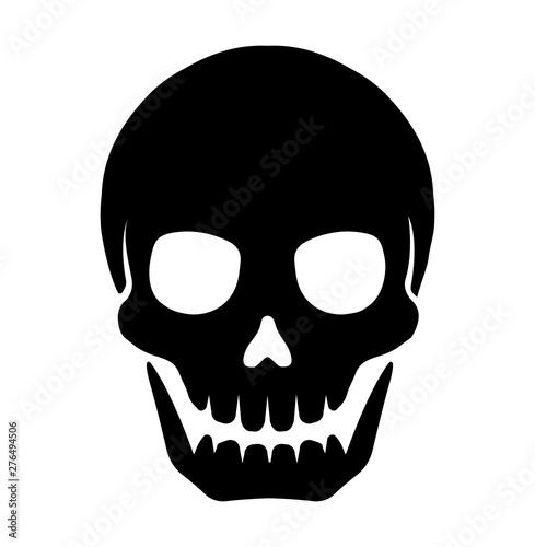 Canvastavla skull mark flat vector illustration ( danger / warning)