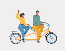 Couple Riding On Tandem Bicycl...