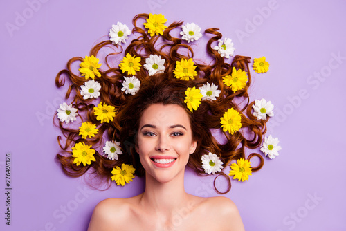 Foto op Aluminium Bloemenwinkel Close-up portrait of her she nice-looking charming cute attractive lovely nude naked feminine adorable cheerful wavy-haired lady blossom hairdo isolated over violet purple pastel background