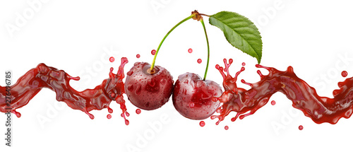 Fototapeta  Fresh cherry juice, smoothie or jam splash wave with ripe cherries