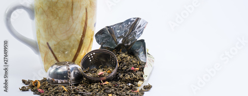 Fotografia, Obraz Mug, Infuser and mango green tea