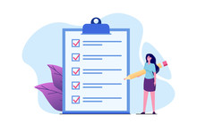 Businesswoman Checklist Concept. Checking Business  Task Success, Questionnaire Checkbox. Vector Illustration.