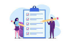 Businessman And Businesswoman Checklist Concept. Teamwork Checking Business  Task Success, Questionnaire Checkbox. Vector Illustration.