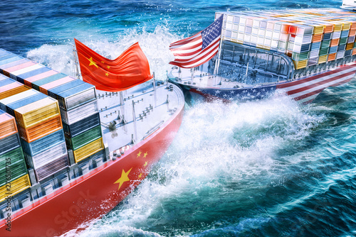United States and China import export trade war concept