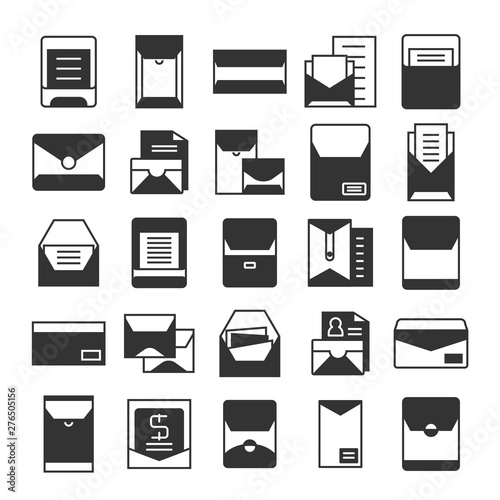 email, mail, envelope and newsletter icons set Fototapet
