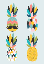 Poster With Four Stylized Pine...