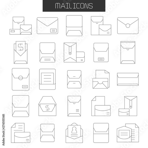 envelope, mail and letter icons set Tablou Canvas
